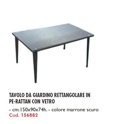 Tavolo da giardino rettangolare in pe rattan con vetro for Tavolo marrone scuro