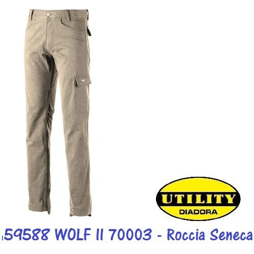 Pantalone WOLF II invernale, tasca laterale, tasca portametro, portamartello, rinforzo sul cavallo e battitacco 70003 Roccia Seneca DIADORA