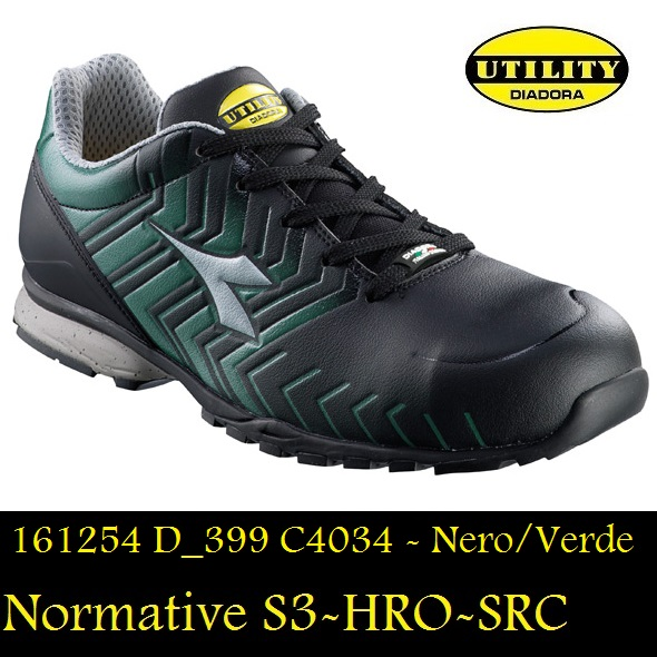 d860814a3caba SCARPA BASSA ANTIFORTUNISTICA DIADORA 161254 D 399 Colore Nero Verde  Normative S3-HRO-SRC