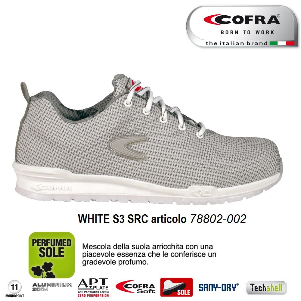 sale retailer 040f4 1a407 Scarpa antinfortunistica Cofra WHITE S3 SRC scarpe lavoro traspiranti  TECHSHEL linea RUNNING - CALZATURE COFRA - Antinfortunistica abbigliamento  ...