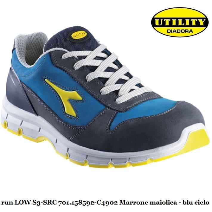 Scarpa bassa antinfortunistica RUN LOW S3 SRC Utility Diadora , blu maiolica blu cielo 701.158592 C4902 calzature diadora Antinfortunistica