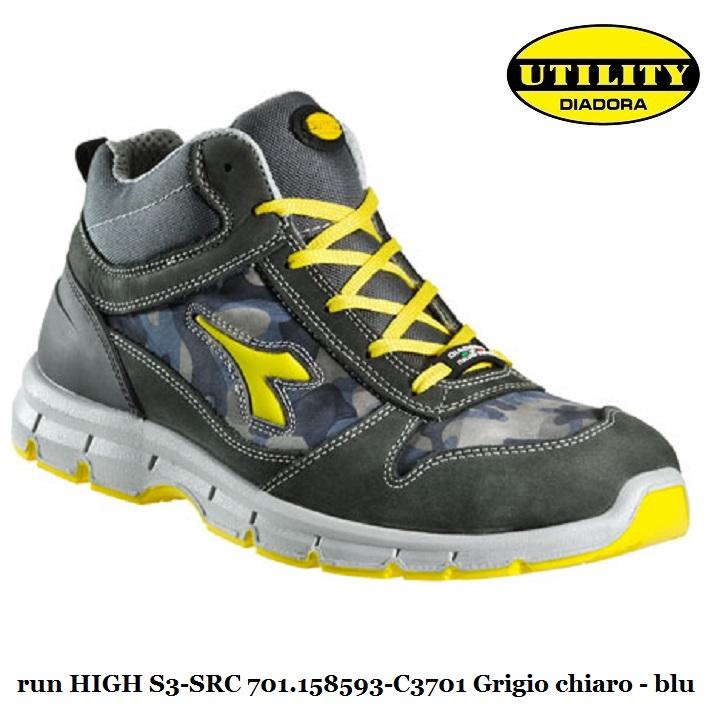 Scarpa alta antinfortunistica HI RUN HIGH S3 SRC Utility Diadora , castel rock blu 701.158593 C3701 calzature diadora Antinfortunistica