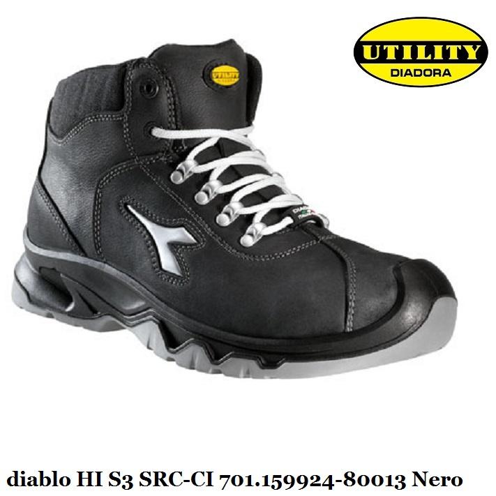 Scarpa antinfortunistica alta DIABLO HI S3 SRC CI Utility Diadora, nero 701.159924 80013 calzature diadora Antinfortunistica abbigliamento
