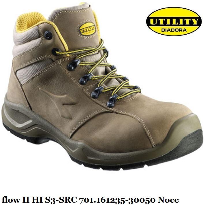 Scarpa alta antinfortunistica FLOW II HI S3 SRC Utility Diadora , noce 701.161235 30050 calzature diadora Antinfortunistica abbigliamento