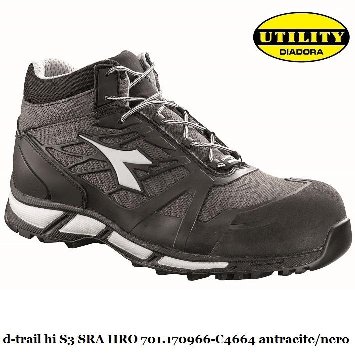 Scarpe Antinfortunistica Diadora Utility D TRAIL LOW S1P SRA HRO GRIGIO/NERO 701