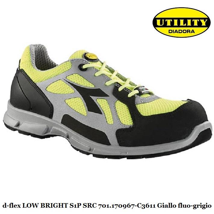 Scarpe antinfortunistica calzatura di sicurezza bassa D FLEX LOW BRIGHT utility Diadora S1P SRC , giallo fluo grigio 701.170967 C3611 calzature
