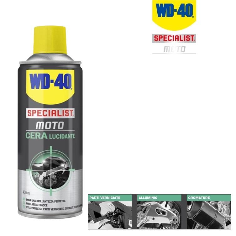 wd40 cera lucidante per parti verniciate cromature alluminio spray 400 ml wd 40. Black Bedroom Furniture Sets. Home Design Ideas