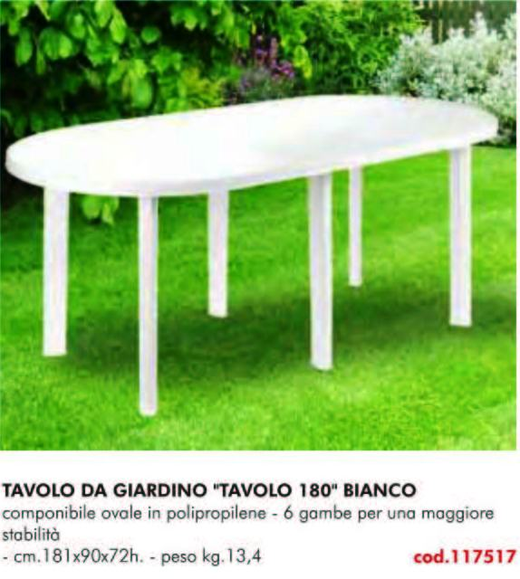 Tavoli Da Giardino In Polipropilene.Tavolo Da Giardino 180 Bianco 6 Gambe