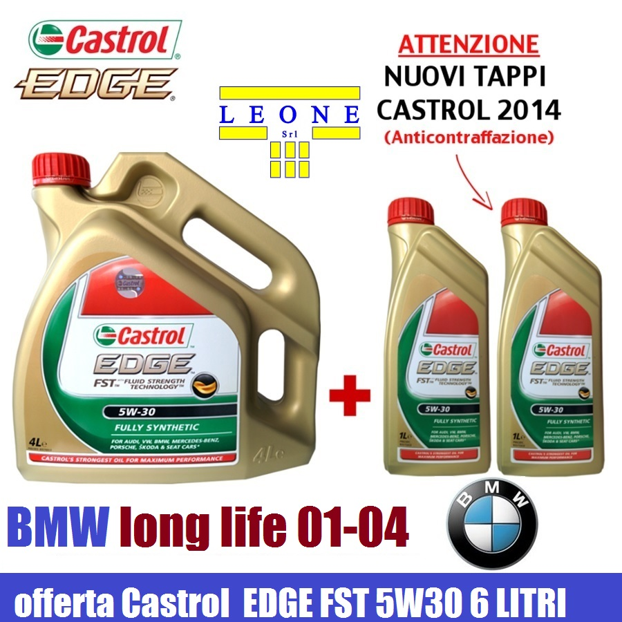 castrol edge 5w30 fst 6 litri olio motore tagliando vw 504. Black Bedroom Furniture Sets. Home Design Ideas