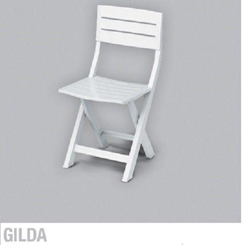 Sedia plastica pieghevole in resina 100 modello gilda colore bianco - Fermatovaglia per tavoli di plastica ...