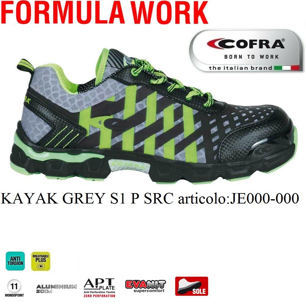 buy popular 10442 f8750 Scarpa antinfortunistica Cofra KAYAK GREY S1 P SRC scarpe lavoro tessuto  altamente traspirante e microfibra linea FORMULA WORK - CALZATURE COFRA -  ...