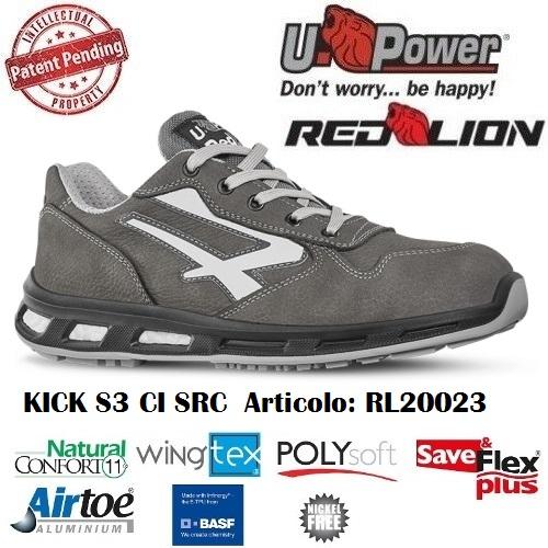 Scarpe Antinfortunistiche U Power linea Red Lion modello KICK S3 CI SRC RL20023 UPower