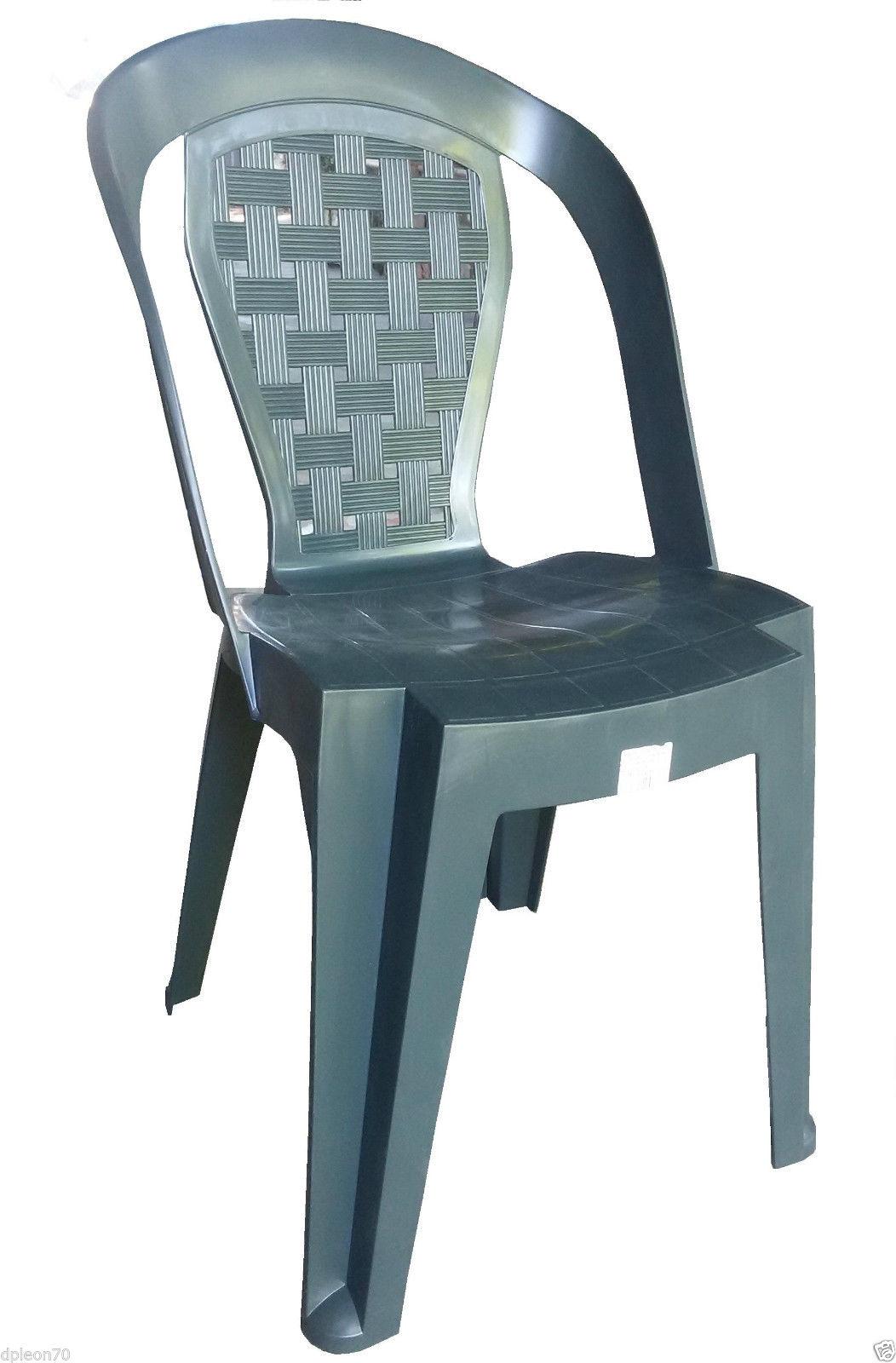 Sedia in plastica giardino senza braccioli colore verde modello matilde - Sedie da giardino in plastica ...