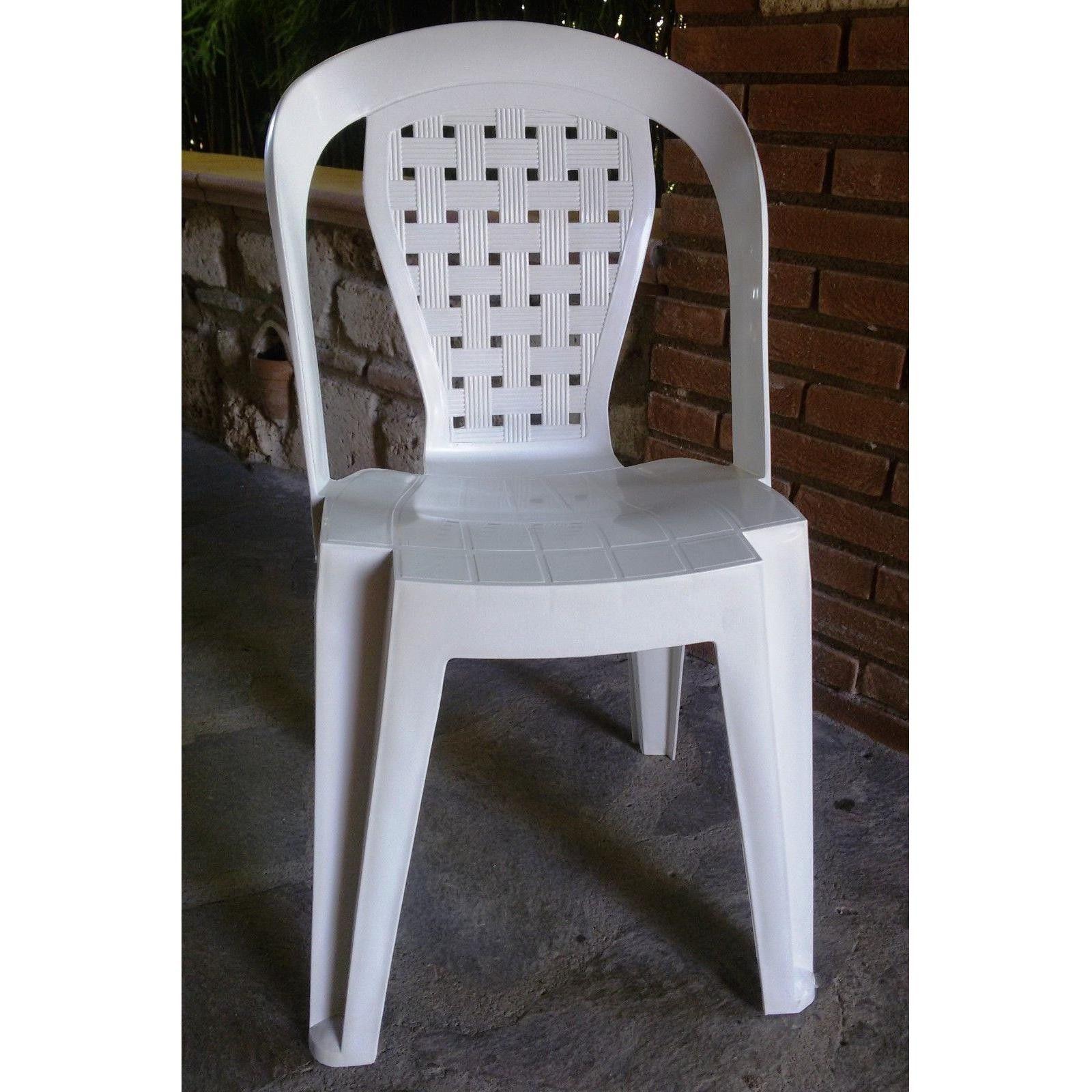 Sedia in plastica giardino senza braccioli colore bianca - Sedie da giardino in plastica ...