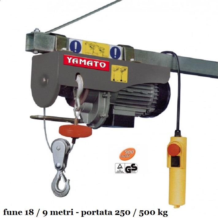 Paranco elettrico 900 watt kg 250 500 cavo 18 metri for Paranco elettrico brico