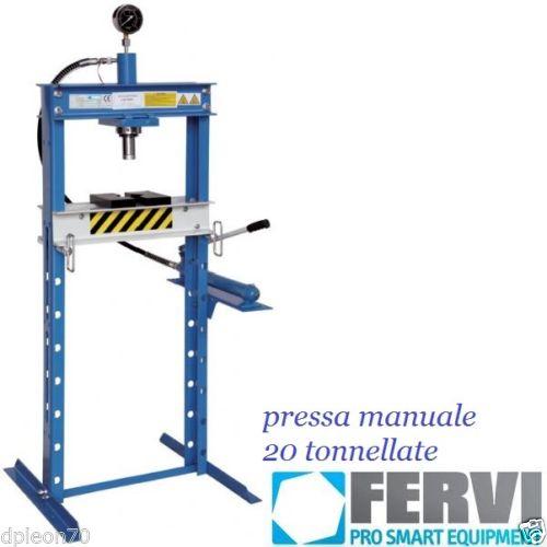 Pressa Idraulica 20 Ton Manuale Fervi Con Manometro