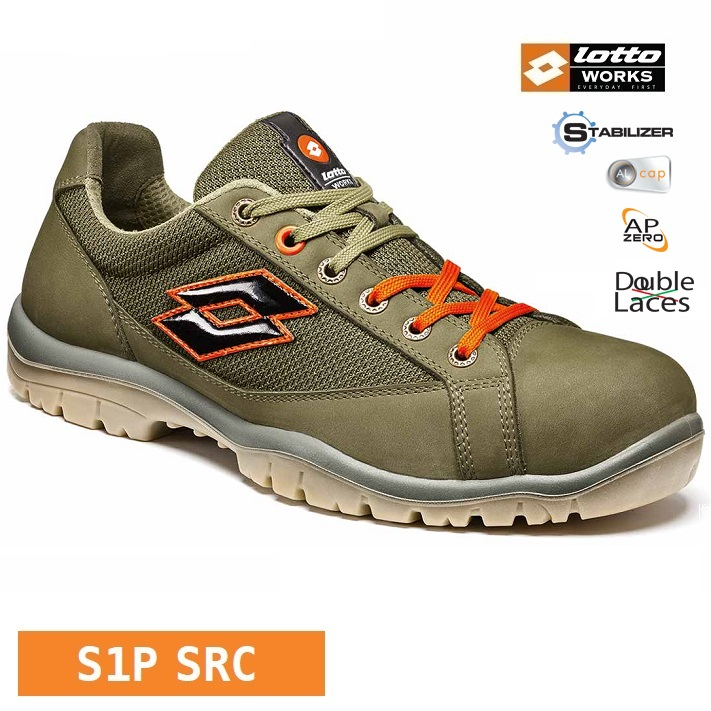 Scarpe antinfortunistiche LOTTO WORKS JUMP 500 Q8515 S1P SRC puntale alluminio colore Night olive Orange Calzature Lotto Works Antinfortunistica