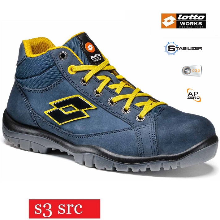 Scarpe antinfortunistiche LOTTO WORKS JUMP 900 MID R7014 S3 SRC alte impermeabili colore Aviator Yellow