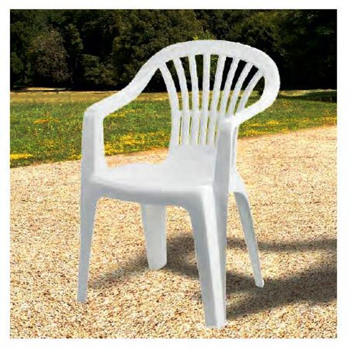 Tavolo Giardino Plastica Bianco.Sedia In Plastica Giardino Con Braccioli Colore Bianco Modello Altea