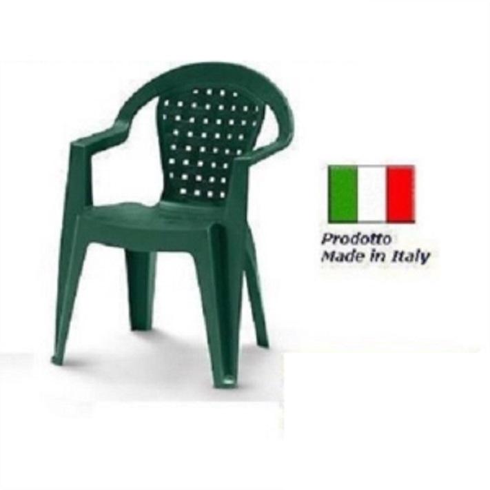 Sedie Verdi Di Plastica.Sedia In Plastica Giardino Con Braccioli Colore Verde Modello Norma