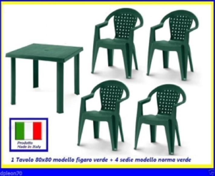 Sedie Da Giardino In Plastica Verdi.Tavolo Verde Figaro 80x80cm 4 Sedie Verdi Norma Resina100