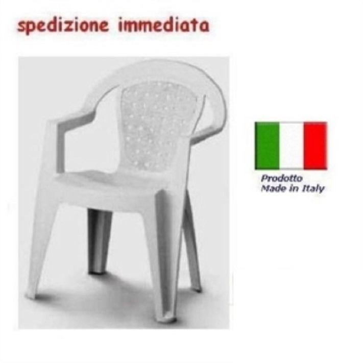 Tavolo Giardino Plastica Bianco.Sedia In Plastica Giardino Con Braccioli Colore Bianca Modello Norma