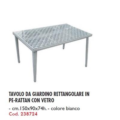 Tavolo Da Giardino Bianco.Tavolo Da Giardino Rettangolare In Pe Rattan Con Vetro Cm