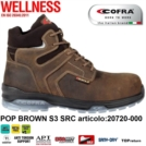 Scarpe Antinfortunistiche COFRA linea WELLNESS tipo polacco modello POP BROWN S3 SRC nubuck Pull-up idrorepellente, DGUV 112 - 191,  20720-000