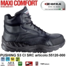Scarpe Antinfortunistiche COFRA linea MAXI COMFORT tipo polacco modello PUSHING S3 CI SRC pelle idrorepellenteCold Protection , Italian Leather, Metal Free 55120-000