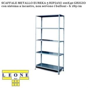Scaffali A Bulloni Prezzi.Scaffale Metallo Eureka 5 Ripiani 100x40 Grigio H 189 Cm Armadi Scaffali Ferramenta Fai Da Te Brico