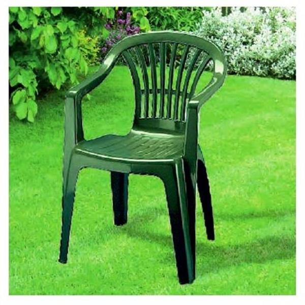 Tavolo Sedie Plastica Giardino.Sedia In Plastica Giardino Con Braccioli Colore Verde Modello