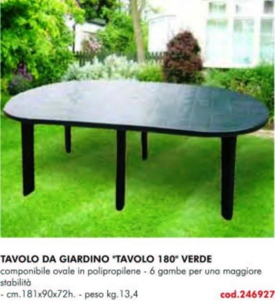 Sedie In Polipropilene Da Giardino.Tavolo Da Giardino 180 Verde 6 Gambe Tavoli Sedie Arredi In