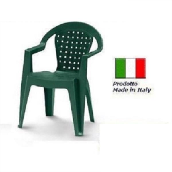 Tavolo Da Giardino In Plastica Verde.Sedia In Plastica Giardino Con Braccioli Colore Verde Modello