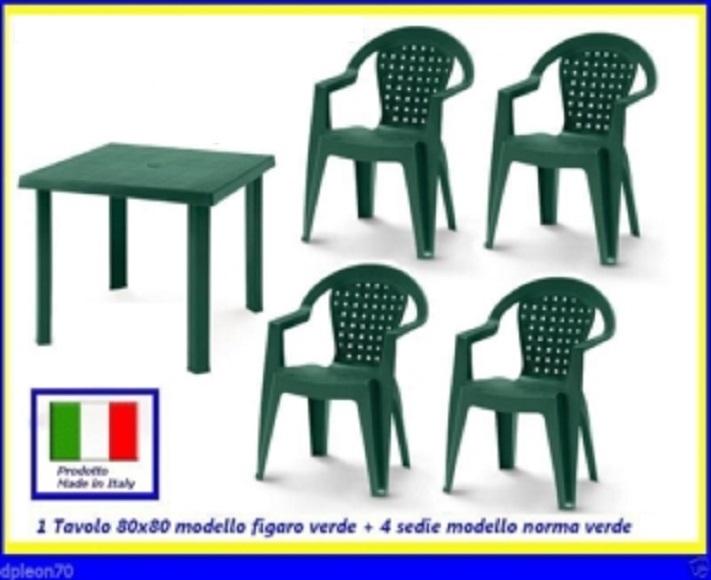 Tavolo Sedie Giardino Plastica.Tavolo Verde Figaro 80x80cm 4 Sedie Verdi Norma Resina100